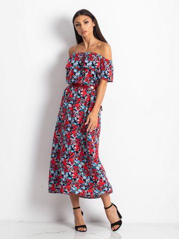 Granatowo-czerwona sukienka Savoring