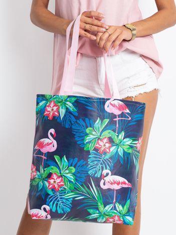 Granatowo-różowa torba z nadrukiem