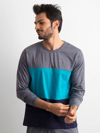 Granatowo-turkusowa piżama męska