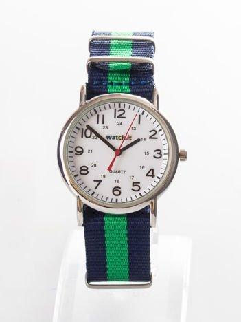 Granatowo-zielony zegarek męski na nylonowym pasku