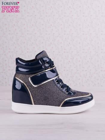 Granatowozłote mieniące sneakersy Lea z lakierowanymi wstawkami