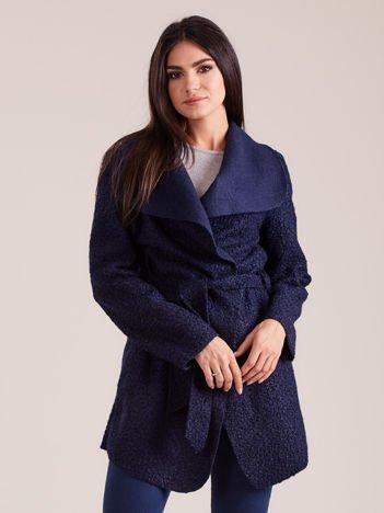 Granatowy dzianinowy damski płaszcz