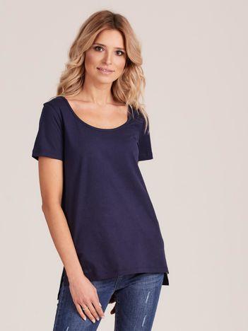Granatowy gładki t-shirt damski
