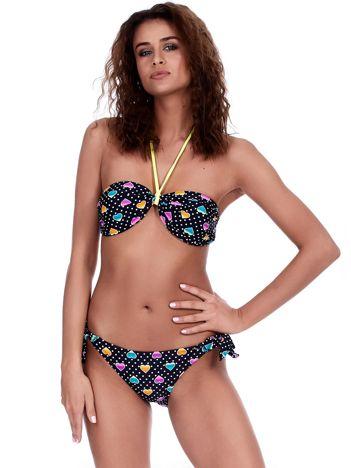 Granatowy kostium kąpielowy bikini w groszki i serca