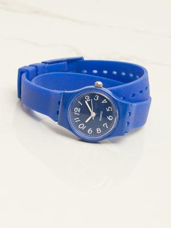 Granatowy mały silikonowy zegarek damski owijany wokół nadgarstka