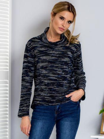 Granatowy melanżowy sweter damski z golfem