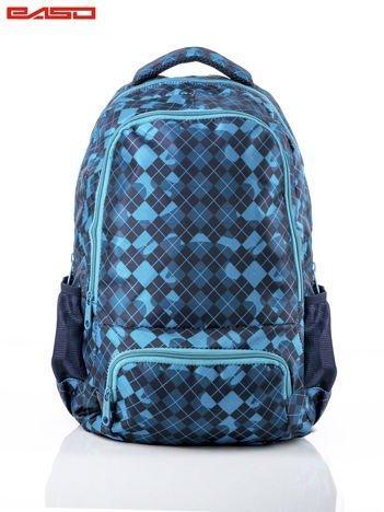 Granatowy plecak szkolny z motywem geometrycznym