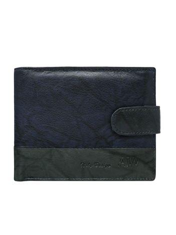 Granatowy portfel ze skóry naturalnej z zapięciem