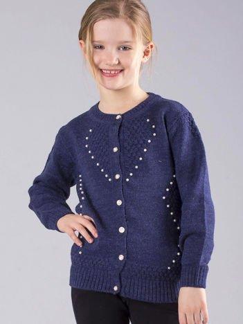 Granatowy rozpinany sweter dziewczęcy z perełkami