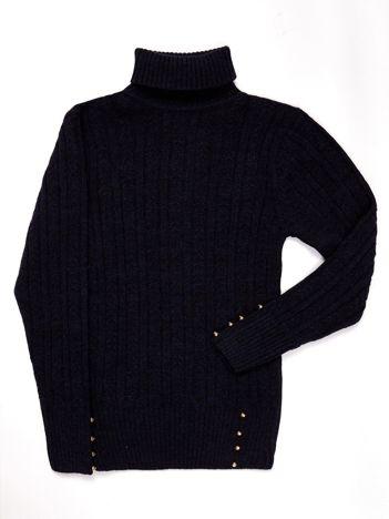 Granatowy sweter dla dziewczynki z golfem