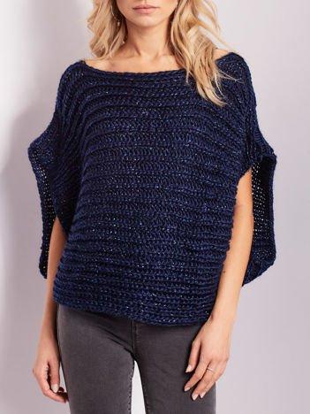 Granatowy sweter kamizelka