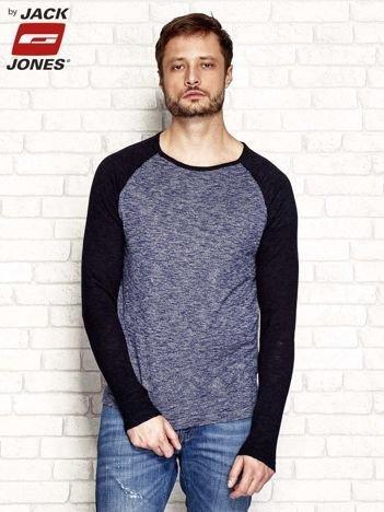 Granatowy sweter męski wzór melanżowy