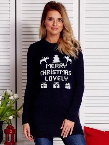 Granatowy sweter świąteczny MERRY CHRISTMAS