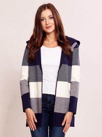 Granatowy sweter w paski z kapturem
