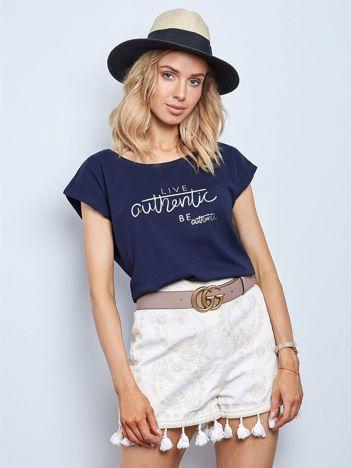 Granatowy t-shirt Authentic