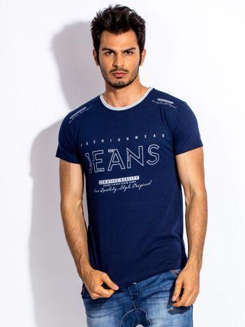 Granatowy t-shirt męski JEANS