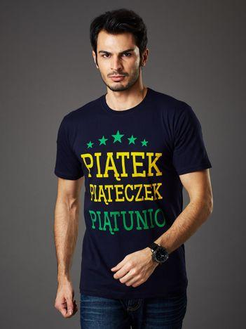 Granatowy t-shirt męski PIĄTEK PIĄTECZEK