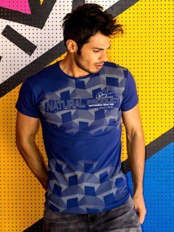 Granatowy t-shirt męski z futurystycznym nadrukiem