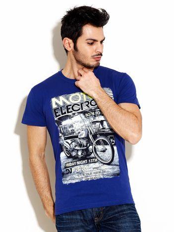 Granatowy t-shirt męski z motocyklem