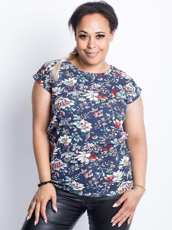 Granatowy t-shirt plus size Wander