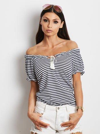 Granatowy t-shirt w paski z wiązaniem