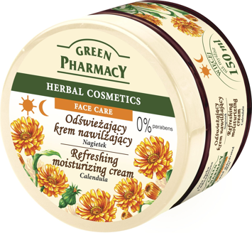 Green Pharmacy Herbal Cosmetics Krem do twarzy nawilżający odświeżający z nagietkiem 150 ml