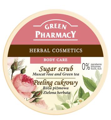 """Green Pharmacy Peeling cukrowy  Róża piżmowa, Zielona Herbata  300ml"""""""