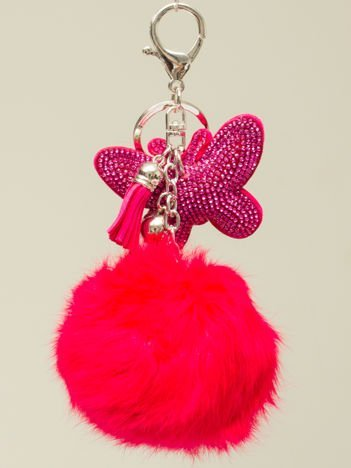 HIT! Puchaty różowy brelok do kluczy,zawieszka do torebki MOTYL z cyrkoniami i chwostem
