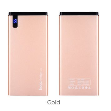 """HOCO B25 Powerbank """"HANBECK"""" o mocy 10000 mAH,zbudowany ze stopu aluminium,ognioodporny,niebieski wyświetlacz cyfrowy LED.186g .Kolor Złoty."""