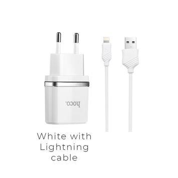 HOCO C11 Inteligentna ładowarka sieciowa USB 1A z przewodem Lightning do ładowania urządzeń Apple Kolor biały