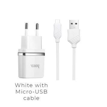 HOCO C12 Inteligentna ładowarka sieciowa z dwoma wyjściami USB 2.4A z przewodem Micro-USB do ładowania urządzeń Android Kolor biały
