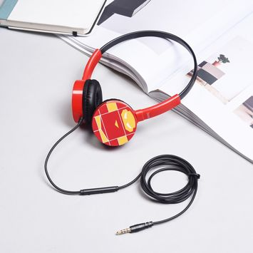 HOCO W15 Kolorowe słuchawki z mikrofonem i sterowaniem za pomocą jednego przycisku Miękkie nauszniki Membrana 36mm Jack 3,5mm Kolor czarno-czerwony