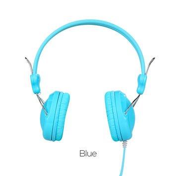 HOCO W5 Słuchawki z mikrofonem i sterowaniem za pomocą jednego przycisku Miękkie nauszniki Membrana 40mm Jack 3,5mm błękitne
