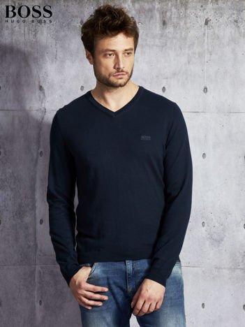 HUGO BOSS Granatowy sweter męski w serek