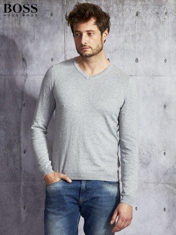 HUGO BOSS Szary sweter męski w serek