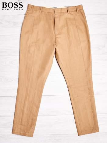 HUGO BOSS Złote spodnie męskie z przeszyciami