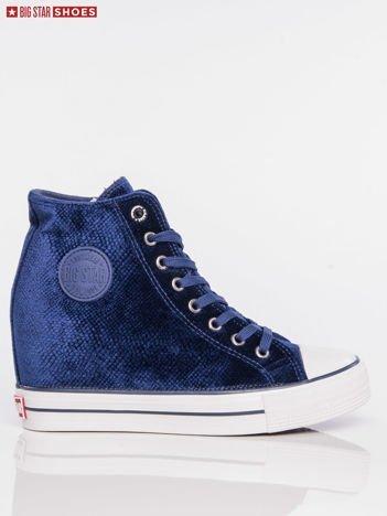 Hiacyntowe sneakersy BIG STAR z tłoczonego, półbłyszczącego materiału