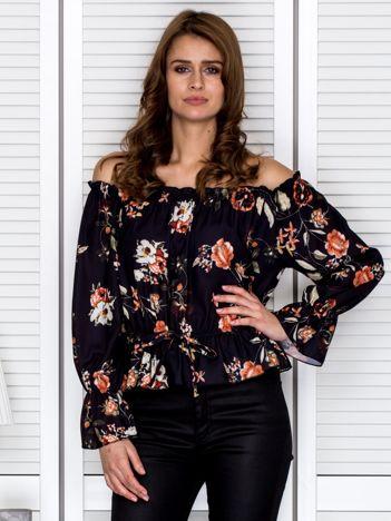 Hiszpańska bluzka z gumką przy dekolcie w kwiaty czarna