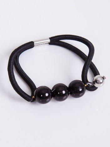 INCA Gumka do włosów czarna z czarnymi perłami
