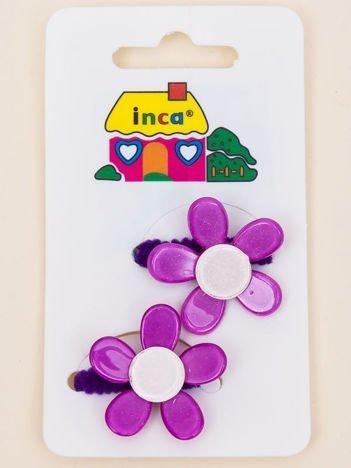 INCA Gumki do włosów fioletowe z kolorowymi kwiatami z brokatem komplet 2 szt.