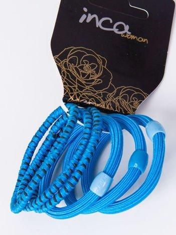 INCA Komplet kolorowych gumek do włosów w odcieniach niebieskiego 6 szt.