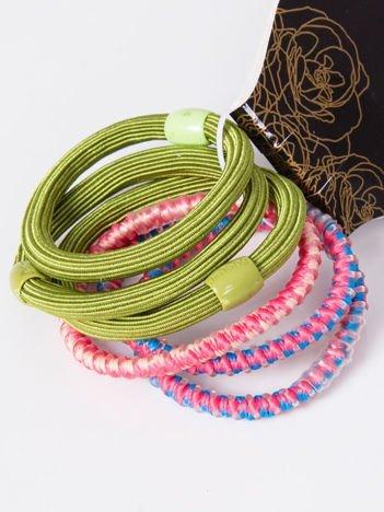 INCA Komplet kolorowych gumek do włosów w odcieniach zieleni i różu 6 szt.