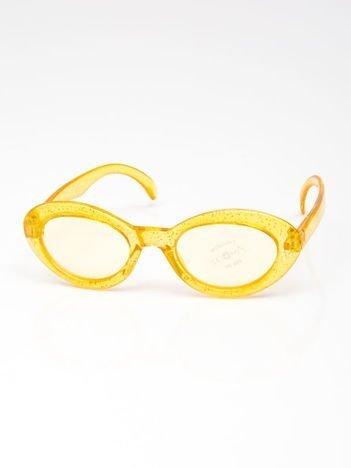 INCA Okulary dziecięce żółte z brokatem