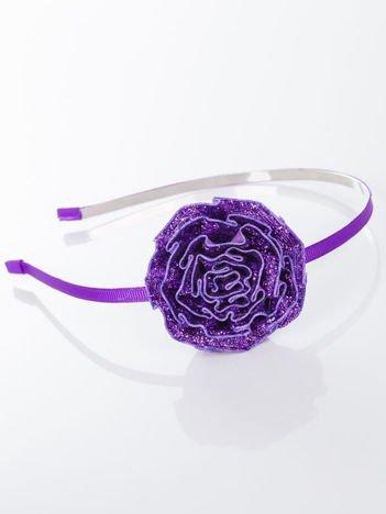 INCA Opaska do włosów fioletrowa z ozdobną dużą różą