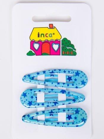 INCA Spinki do włosów błękitne 4 cm Komplet 3 szt.