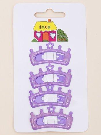 INCA Spinki do włosów pyki fioletowe korony z brokatem komplet 2 szt.