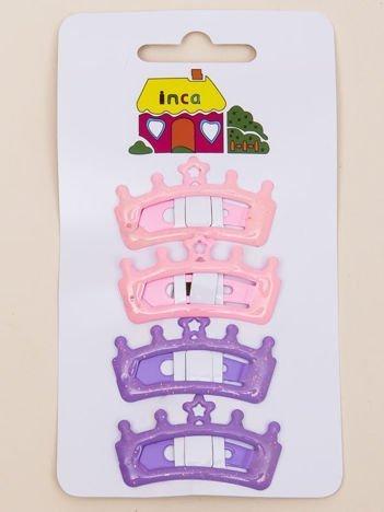 INCA Spinki do włosów pyki fioletowo-jasnoróżowe korony z brokatem komplet 2 szt.