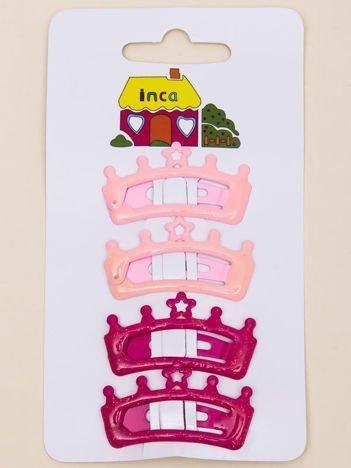 INCA Spinki do włosów pyki różowe i jasnoróżowe korony z brokatem komplet 2 szt.