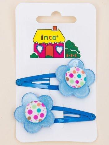 INCA Spinki do włosów z kwiatem niebieskie komplet 2 szt.