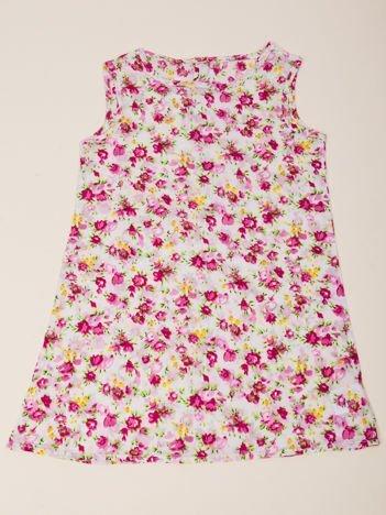 INCA Sukienka dziewczęca biała w drobne różowe Kwiatki
